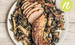 Fennel Rubbed Pork Roast with Shiitakes and Chard