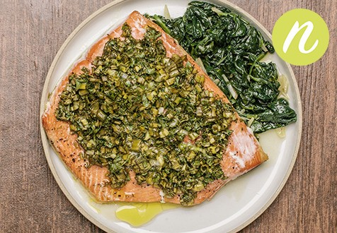 Lemon Herbed Sockeye with Garlicky Spinach