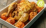Roasted Chicken with Harissa Cous Cous Tomatoes