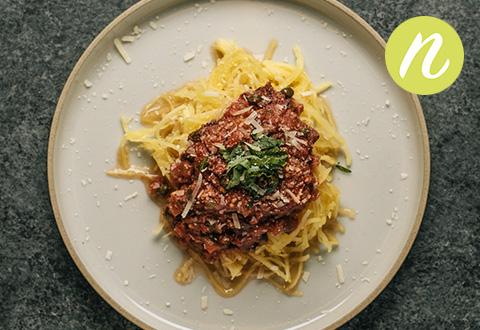 Tomato Puttanesca Over Spaghetti Squash