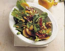 Mixed Greens with Persimmons and Walnuts