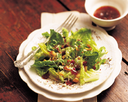 Romaine Salad with Macadamia Nuts and Cranberry Vinaigrette