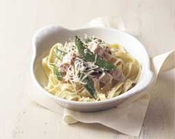 Fettuccine with Ham and Sugar Snap Peas