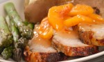 Grilled pork loin with peach sauce