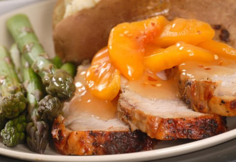 Skillet Pork Chops with Peach Sauce
