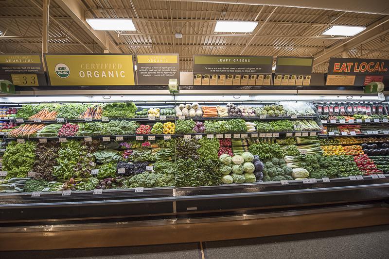 Produce section. shelves of vegtables.