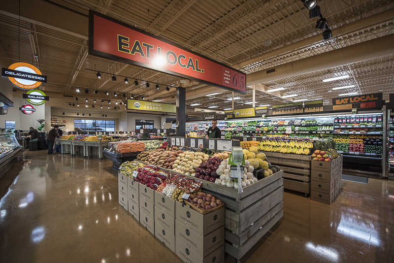 A large eat local section over the produce section.