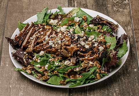 Grilled Pork Tenderloin Salad with Balsamic Blue Cheese Vinaigrette