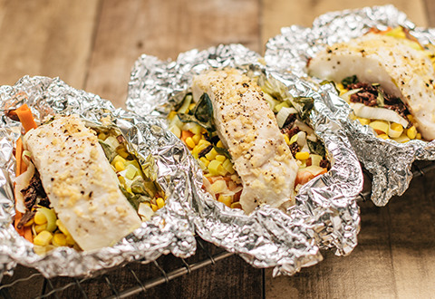 Halibut and Veggies in Foil