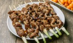 Kalbi Sirloin and Scallion Skewers