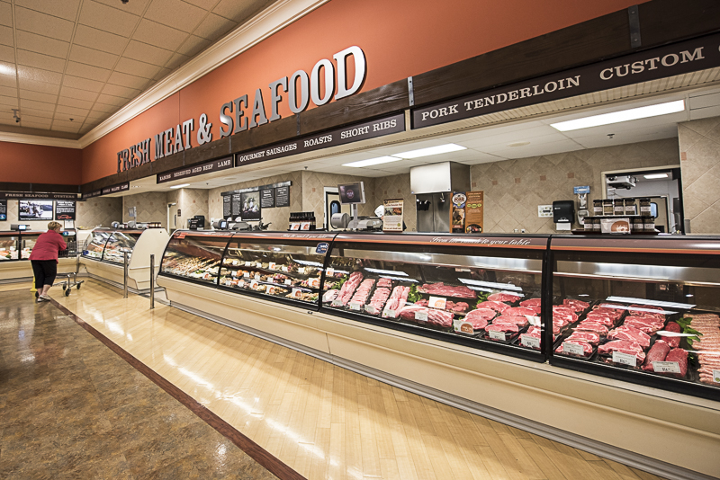 Fresh meat and seafood section.