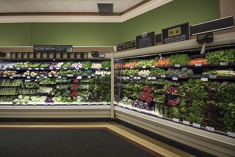shelves full of vegetables.