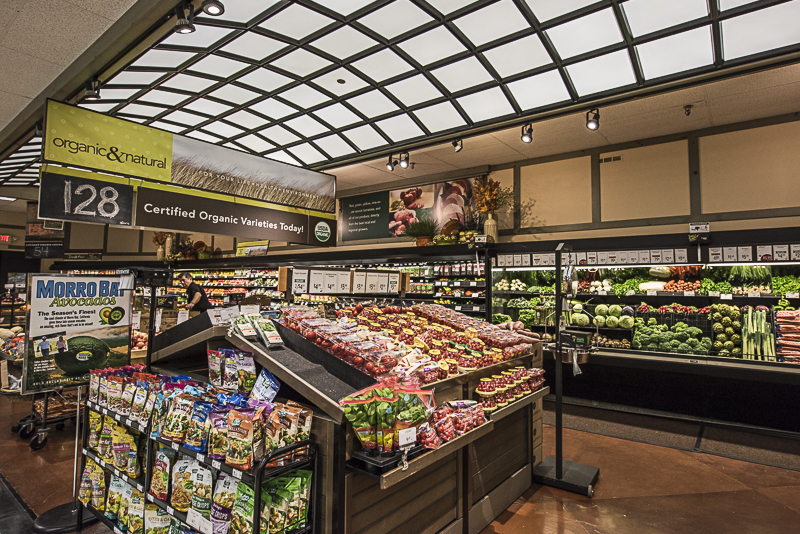 A produce section with an arched skylight.