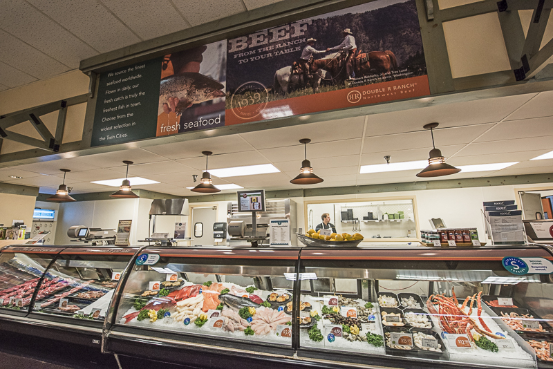 Seafood and meat counter.