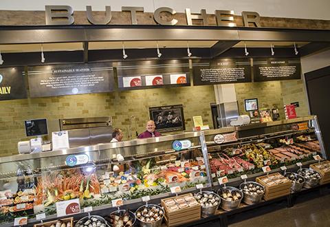 A butchery counter.