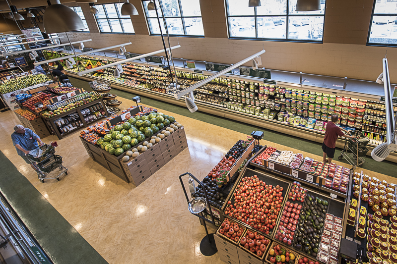 Overhead view of the produce section