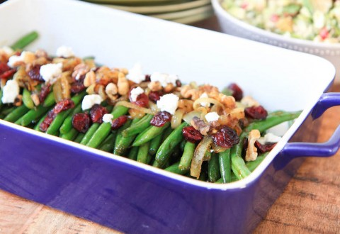Brown Sugar Glazed Green Beans with Caramelized Onions, Cranberries, Walnuts, and Goat Cheese