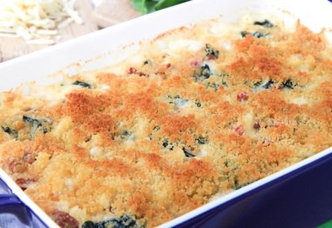 Salami, Roasted Red Pepper, and Spinach Macaroni and Cheese