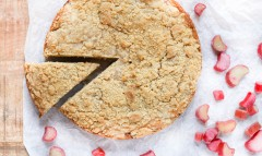 Brown Butter Rhubarb Cake with Crumb Topping