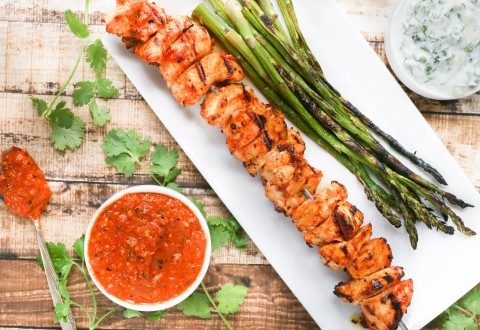 Grilled Harissa Chicken Skewers With Herb Yogurt Dipping Sauce