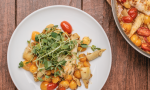 One-Pan Seabass with Artichokes and Pea Shoot Salad