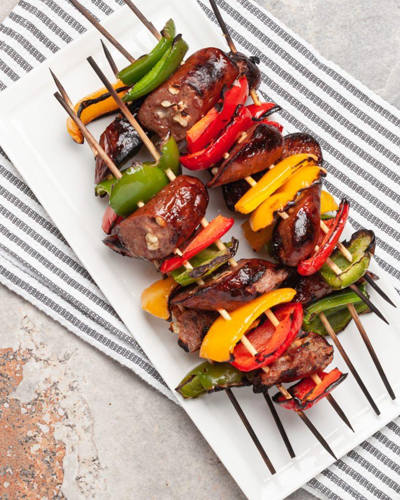 Chicken Sausage & Pepper Skewers