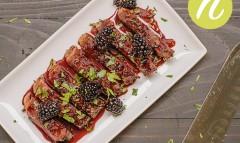 Grilled New York Strip Steaks in Blackberry Gastrique
