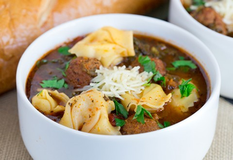 Slow Cooker Tortellini and Meatball Soup