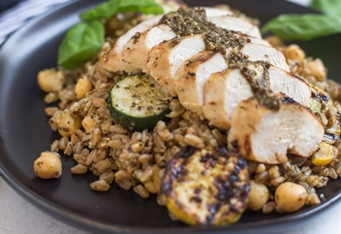 Pesto Chicken Farro Salad