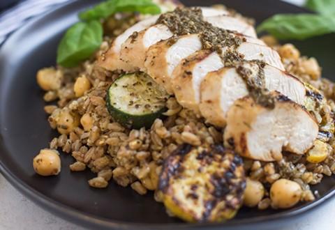 Pesto Chicken Farro Salad