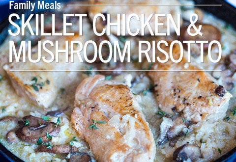 One Skillet Creamy Chicken Mushroom Risotto