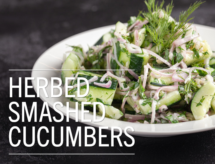 Herbed Smashed Cucumbers