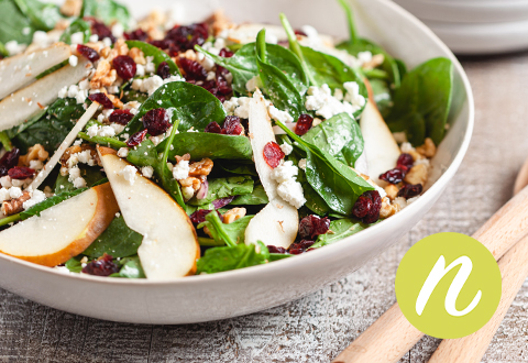 Goat Cheese Spinach Salad with Cranberries