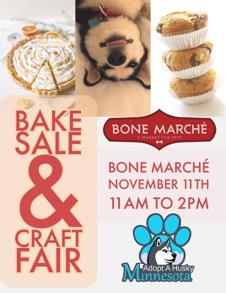 Bake Sale and Craft Fair FLyer Adopt a Husky Nov 18