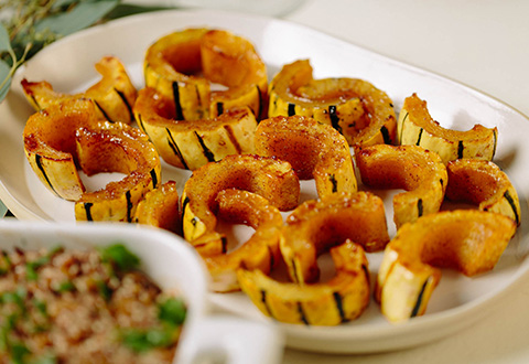 Maple Holiday Spiced Roasted Delicata Squash