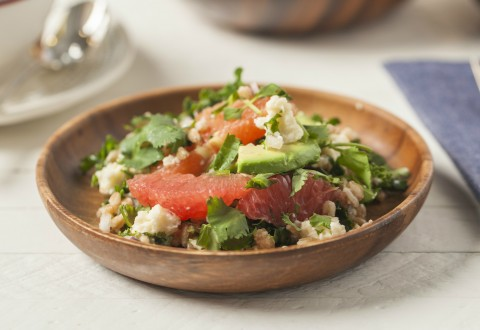 Avocado, Citrus, Farro Salad with Grapefruit Vinaigrette