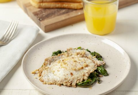 Walnut Crusted Eggs Over Greens