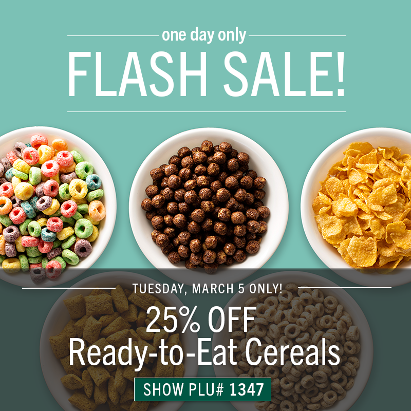 25% OFF Ready-to-Eat Cereals