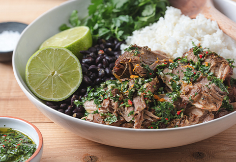 Slow Cooker Mojo Pork Roast with Chimichurri Sauce