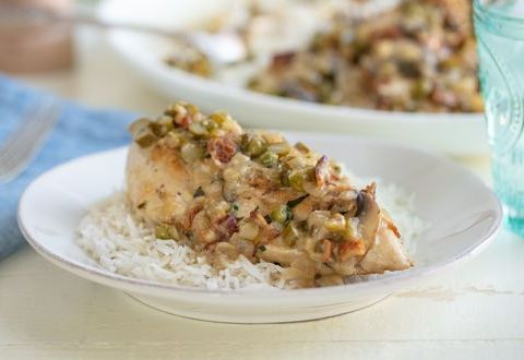 Creamy Chicken with Asparagus and Peas