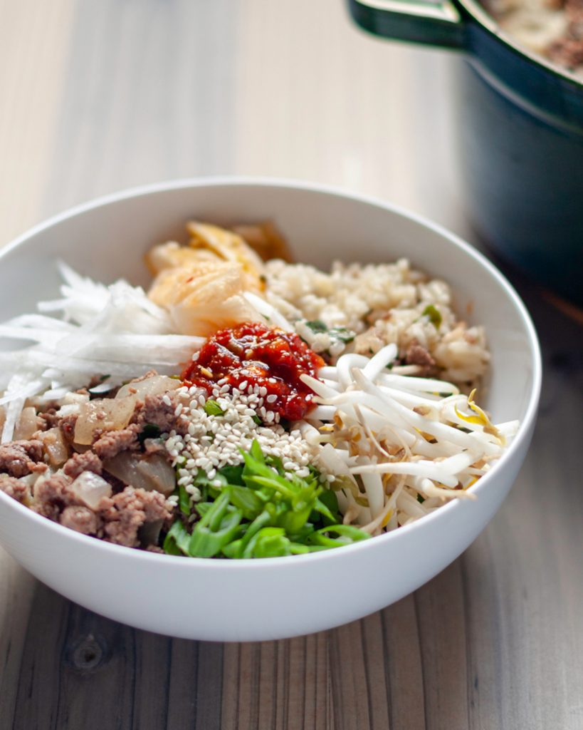 One-Pot Bibimbap-Style Spinach Rice & Spicy Beef