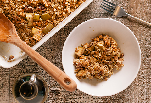 Maple-Baked Oats with Apples & Pecans