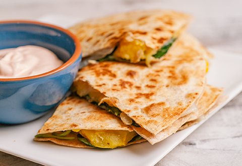 Pumpkin Spinach Quesadillas
