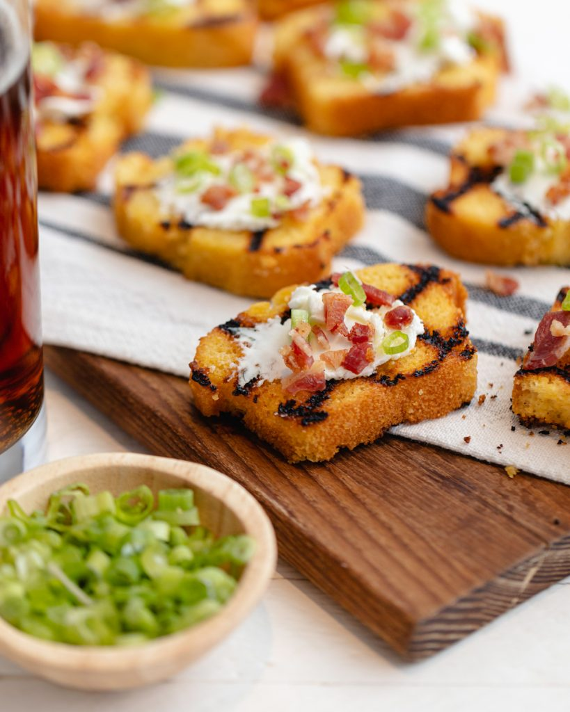 Grilled Cornbread with Goat Cheese, Bacon & Chives