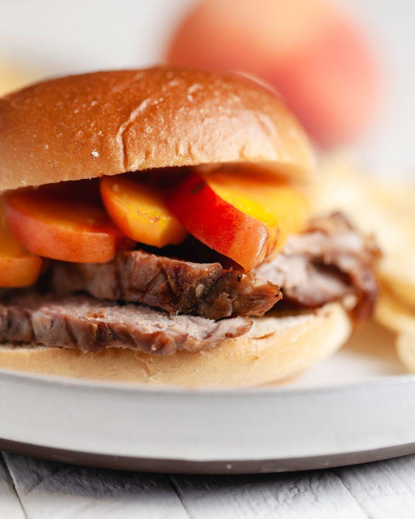 Grilled Peach-Pork Sandwiches