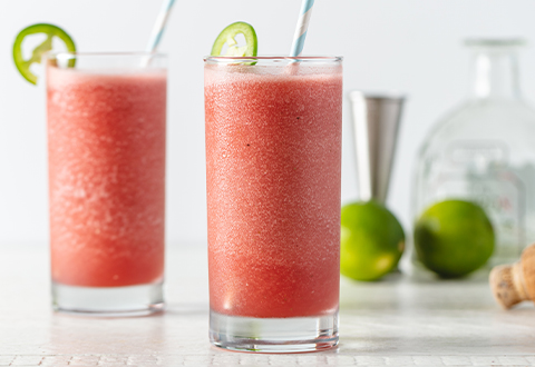Spicy Watermelon, Lime & Tequila Slushy