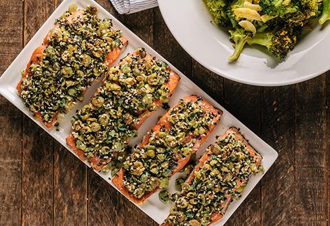 Wasabi Pea Crusted Salmon with Orange Broccoli