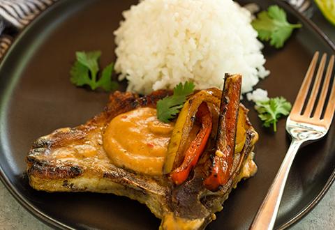 One-Skillet Thai Pork Chops & Coconut Rice