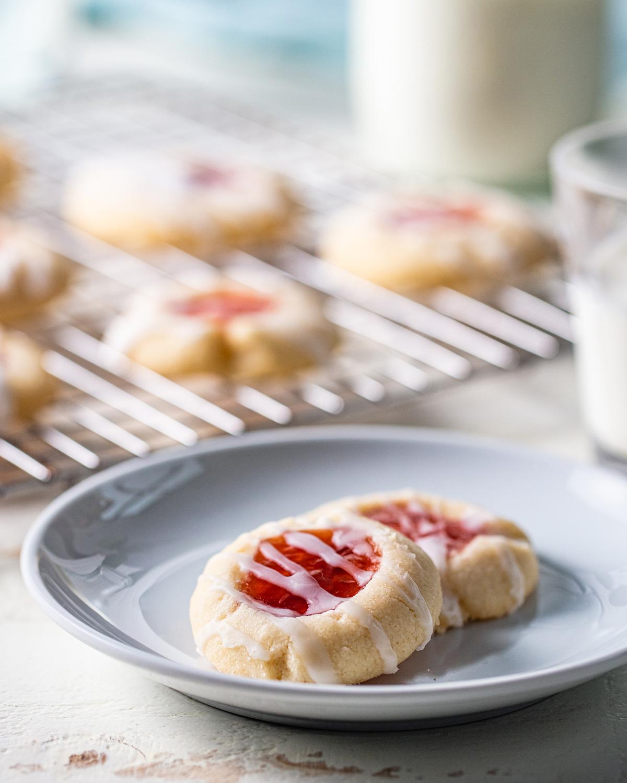 Raspberry Shortbread Thumbprint Cookies