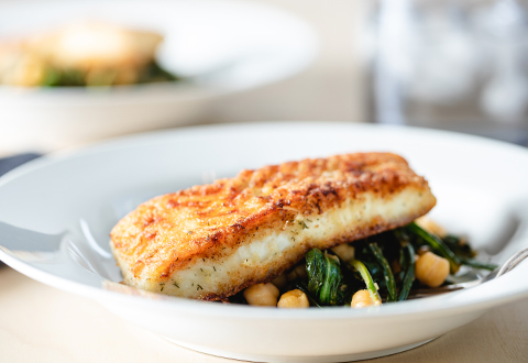 Pan-Fried Halibut with Chickpeas & Dandelion Greens
